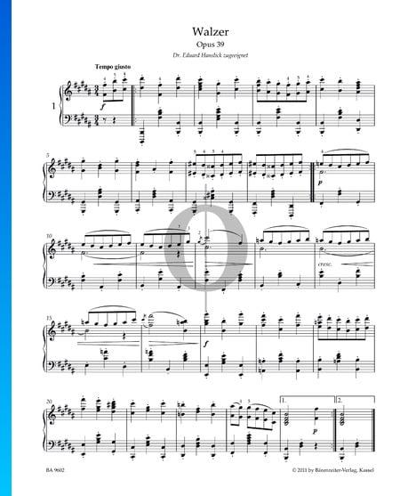 Vals, Op. 39 n.º 1 Partitura