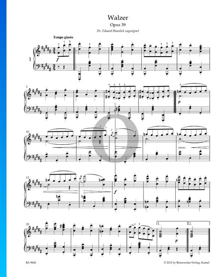 Valse, Op. 39 No. 1 Partition
