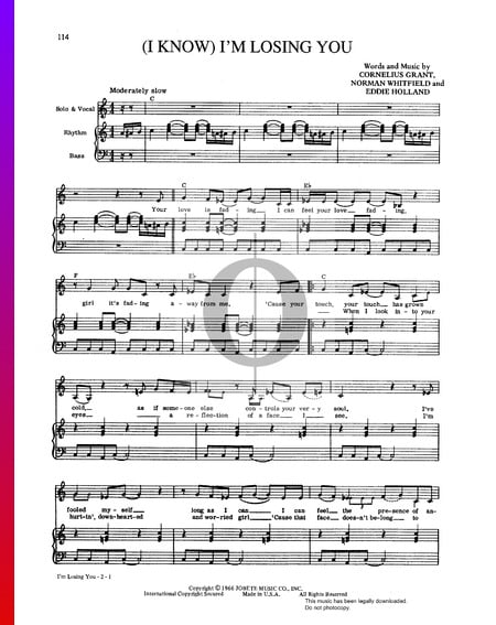 (I Know) I'm Losing You Sheet Music