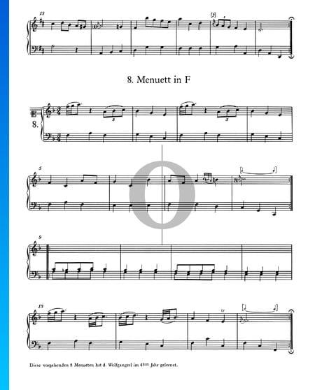 Menuet in F Major, No. 8 Sheet Music