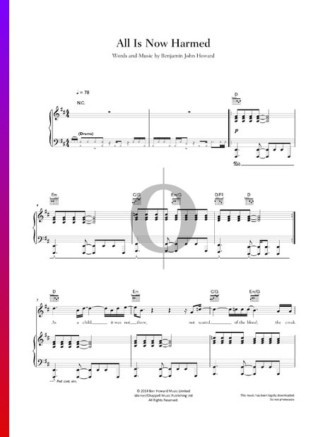 All Is Now Harmed Sheet Music