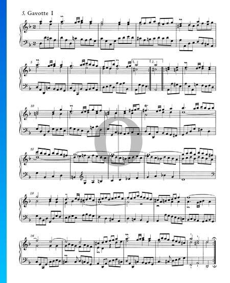 Englische Suite Nr. 6 d-Moll, BWV 811: 5./6. Gavotte I und II Musik-Noten