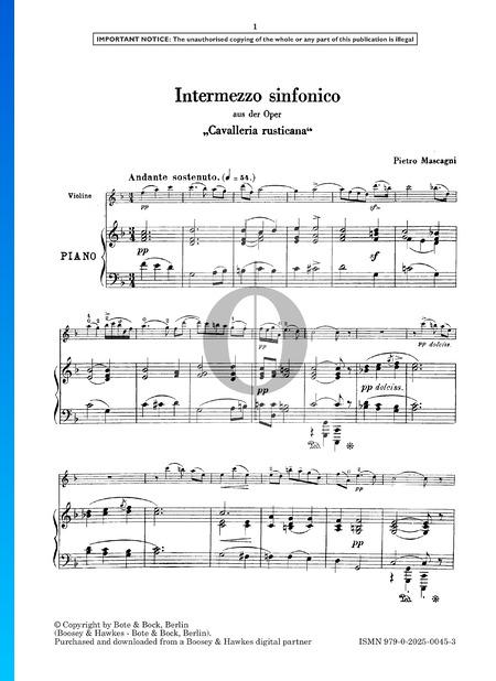 Cavalleria Rusticana, Intermezzo Musik-Noten