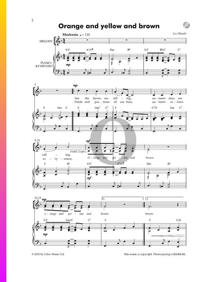 Orange And Yellow And Brown Sheet Music