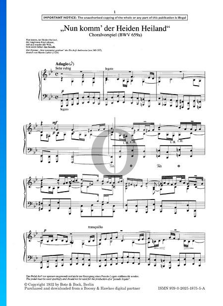Nun komm' der Heiden Heiland, BWV 659a Sheet Music