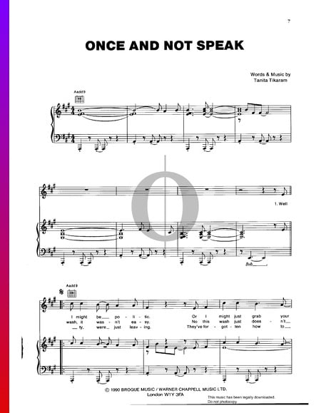 Once And Not Speak Musik-Noten