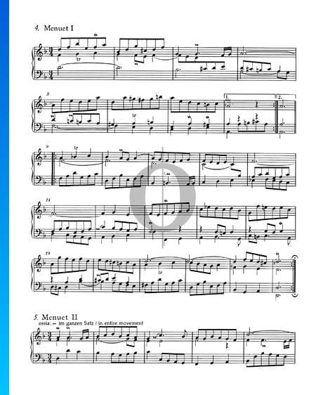 Suite francesa n.º 1 en re menor, BWV 812: 4./5. Minueto I y II Partitura