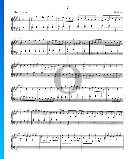 Suite/Konzert g-Moll, HWV 453: 3. Chaconne Musik-Noten