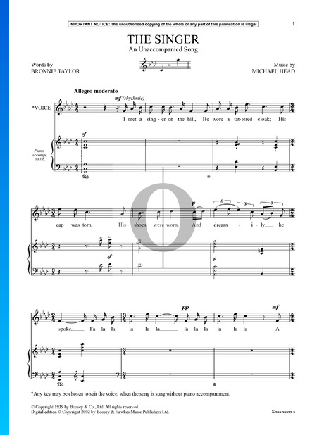 The Singer (An Unaccompanied Song) Sheet Music
