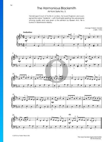 Suite No. 5 in E-Dur, HWV 430: Air (Der harmonische Grobschmied) Partitura