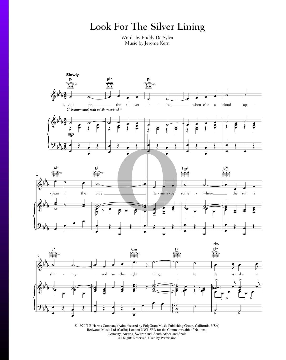 ▷ look for the silver lining partitura (piano, voz, guitarra) - descarga de  pdf y streaming - oktav  oktav