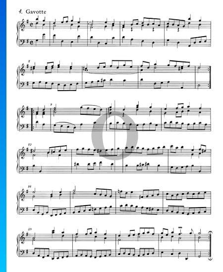 Suite francesa n.º 5 en sol mayor, BWV 816: 4. Gavota Partitura