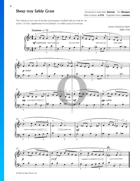 Schafe Können Sicher Weiden, BWV 208 Musik-Noten