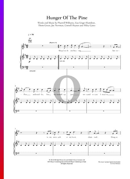 Hunger Of The Pine Musik-Noten