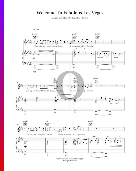 Welcome To Fabulous Las Vegas Sheet Music