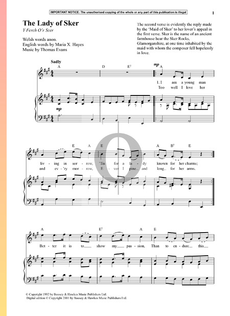 The Lady Of Sker Sheet Music
