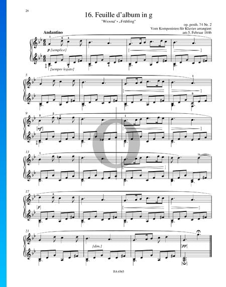 Feuille d'album en sol menor, Op. posth. 74 n.º 2 Partitura