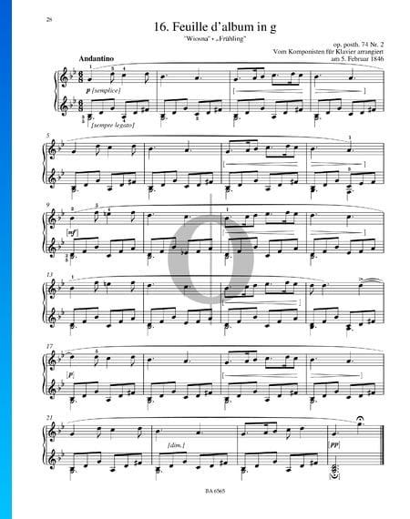 Feuille d'album en Sol mineur, Op. posth. 74 No. 2 Partition