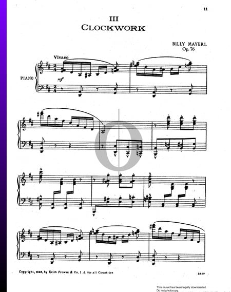 Three Miniatures In Syncopation, Op. 76: No. 3 Clockwork Sheet Music