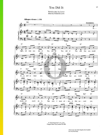 You Did It Sheet Music