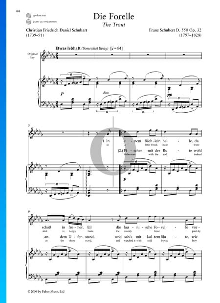 The Trout (Die Forelle), D. 550 Op. 32 Sheet Music