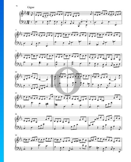Suite in E-flat Major, BWV 1010: 6. Gigue Sheet Music