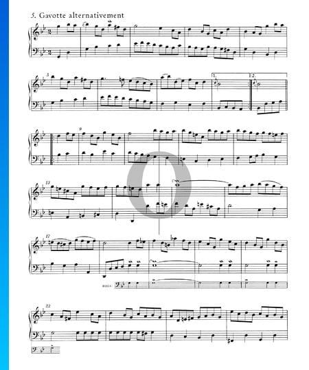 English Suite No. 3 G Minor, BWV 808: 5./6. Gavotte I and II Sheet Music