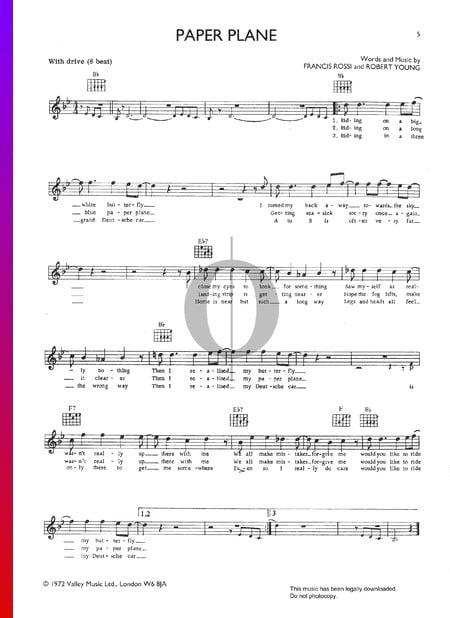 Paper Plane Sheet Music