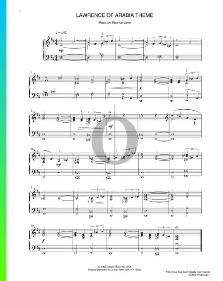 Lawrence Of Arabia Theme Partitura