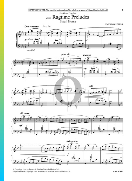 Ragtime Preludes: Small Hours Sheet Music