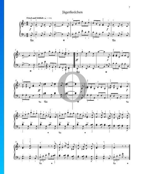 Canción de caza, Op. 68 n.º 7 Partitura