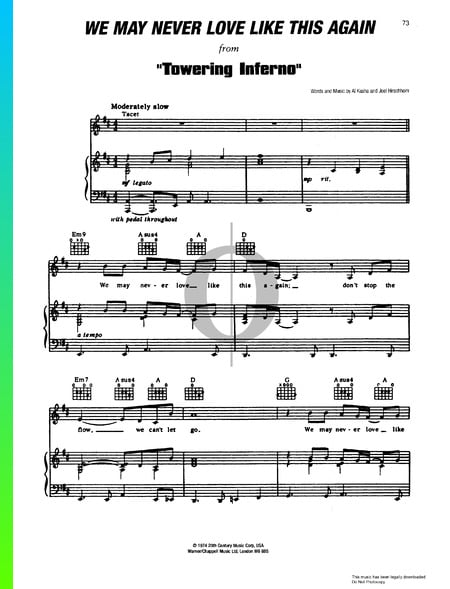 We May Never Love Like This Again Sheet Music