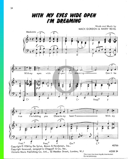 With My Eyes Wide Open I'm Dreaming Sheet Music