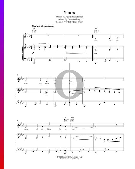 Yours Sheet Music