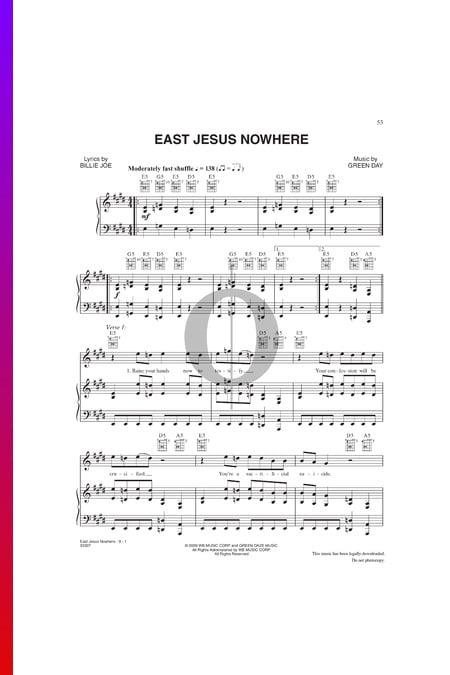 East Jesus Nowhere Musik-Noten