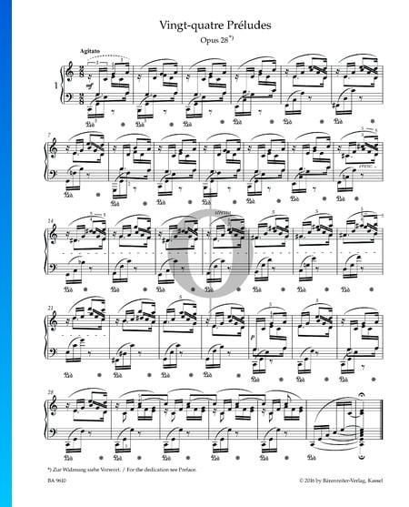 Preludio en do mayor, Op. 28 n.º 1 Partitura