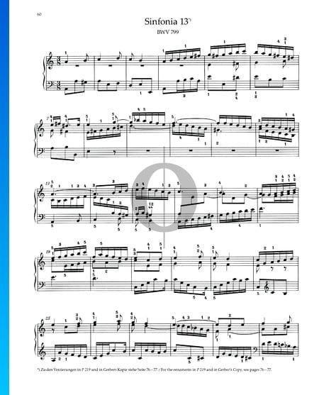 Sinfonia 13, BWV 799 Musik-Noten