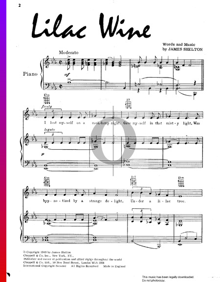 Lilac Wine Sheet Music