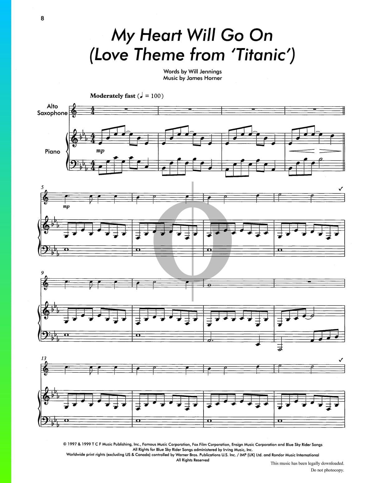 ▷ My Heart Will Go On Sheet Music (Piano, Saxophone) - PDF