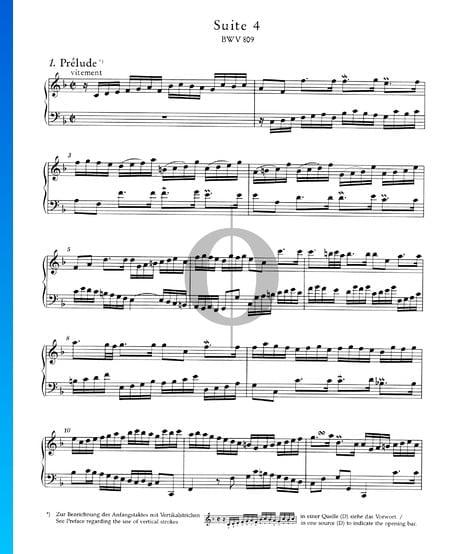 Englische Suite Nr. 4 F-Dur, BWV 809: 1. Prélude Musik-Noten
