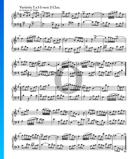Variaciones Goldberg, BWV 988: Variación 7. a 1 o 2 claves Partitura