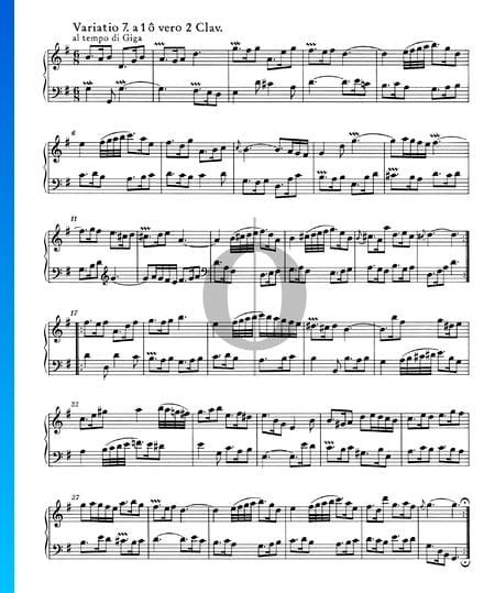 Variations Goldberg, BWV 988: Variatio 7. à 1 ô vero 2 Clav. Partition