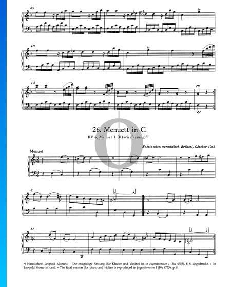 Menuett in C-Dur, KV 6: Nr. 1 Musik-Noten