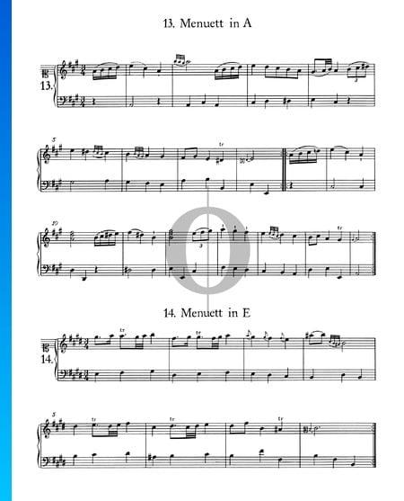 Menuet in A Major, No. 13 Sheet Music