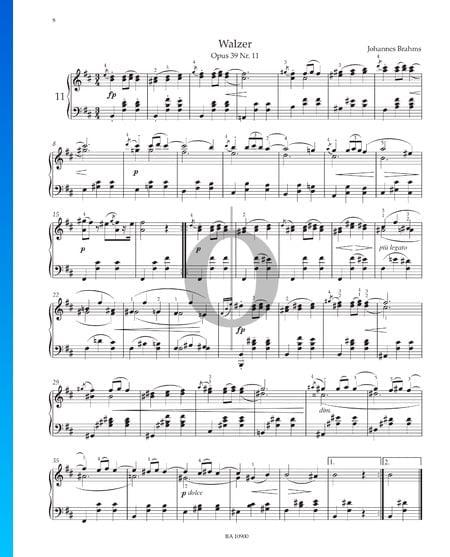 Vals, Op. 39 n.º 11 Partitura