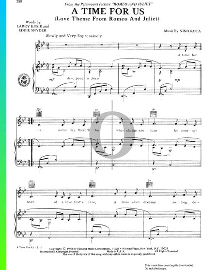 A Time For Us (Love Theme From Romeo And Juliet) Sheet Music