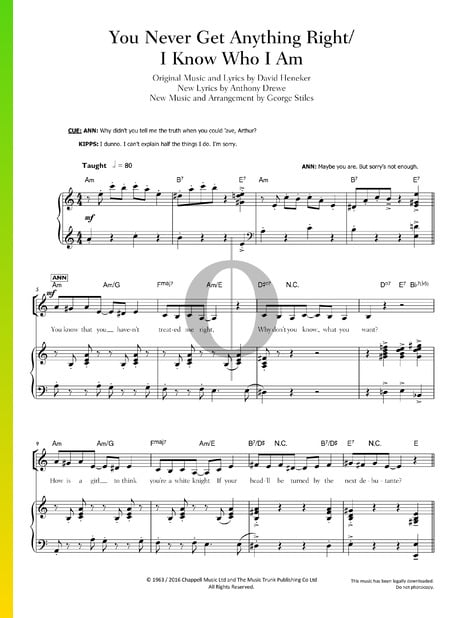 You Never Get Anything Right / I Know Who I Am Partitura