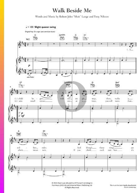 Walk Beside Me Sheet Music