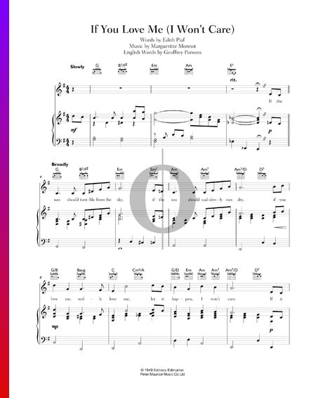 If You Love Me (I Won't Care) Sheet Music
