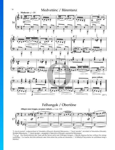 Mikrokosmos, Sz. 107 Vol. 4: n.º 102 Armónicos Partitura